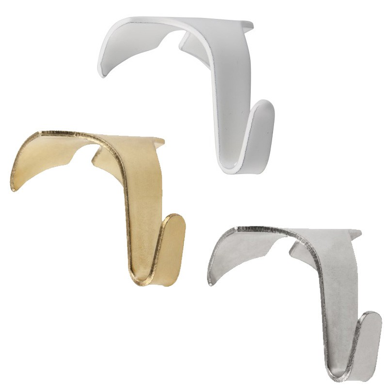 STAS moulding hooks white, chrome / natural aluminium and gold / brass